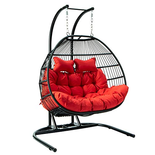 LeisureMod Wicker 2 Person Double Folding Hanging Egg Swing Chair
