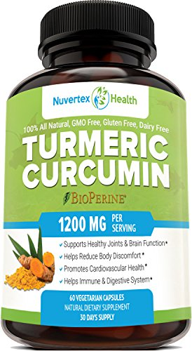 Turmeric Curcumin with BioPerine - Anti-Inflammatory & Antioxidant Supplement with 10mg of Black Pepper for Absorption and Best Results. All Natural & Non-Gmo Joint Pain Relief by Nuvertex Health