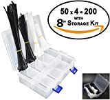 Self-Locking Nylon Cable Ties Assortment With 8 Grids Plastic Organizer Storage Box Kit (Removable Dividers) - 200 pcs 4/6/8 inch Assorted Multi-Purpose Nylon Zip Wire Tie Management (Combo Pack)