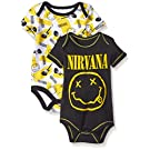 Nirvana Boys' 2 Pack Bodysuit, Black, 3-6 Months