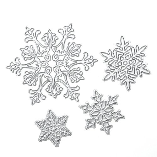 Whitelotous Cutting Dies Stencil Metal Mould for DIY Scrapbook Album Paper Card (4pcs Snowflake)