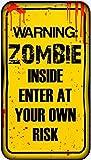 Warning Zombie Inside 40cm x 22cm Halloween Sign Hanging Decoration Plaque by Scream Machine