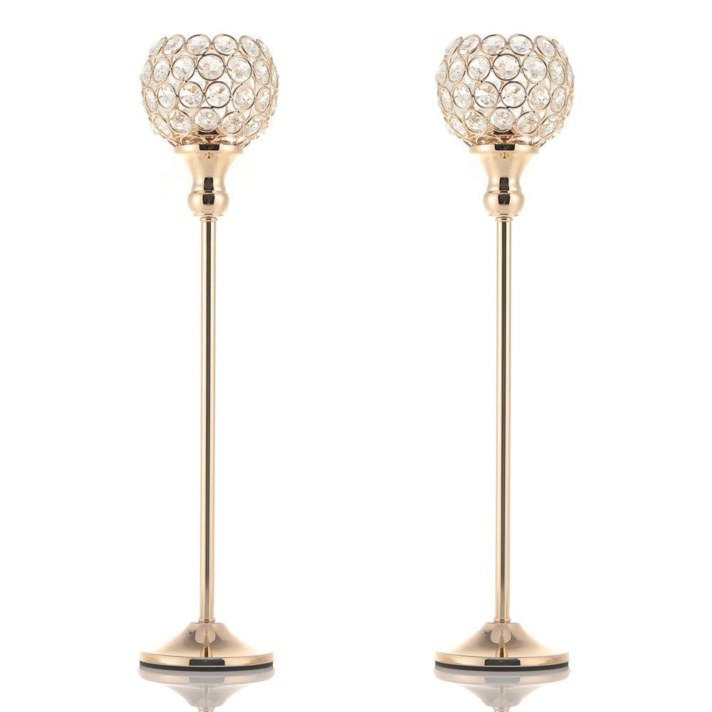 VINCIGANT Pair of 2 Gold Crystal Candle Stand Holders/Dinning Room Table Decorative Candle Lantern Centerpieces for Anniversary Mothers Day Thanksgiving Gifts