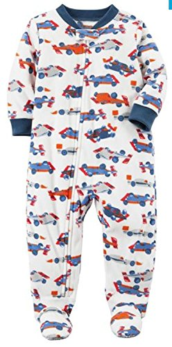 Carter's Baby Boy 1 Pc Fleece Footed Pajama (18 Months, Race Cars)