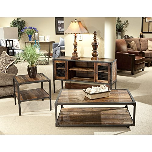 Emerald Home Medium Brown Sofa Table with Solid Wood Top, Two Cabinets, and Open Center Shelving by Emerald Home (Image #2)
