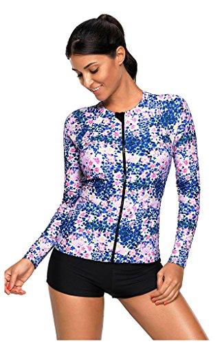 Obosoyo Women's Long Sleeve Rash Guard Zip Front Printed UV Protection Rashguard Tops Blue (Front Zip Printed)