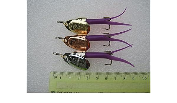 Especialmente modificado cuerpo corto vuelo C estilo Spinner tamaño: 10 g con # 3 estilo francés cobre, oro, plata spinner blade, 3 artículo paquete púrpura cuerpo color mezclado estilo bala cabezas: Amazon.es: