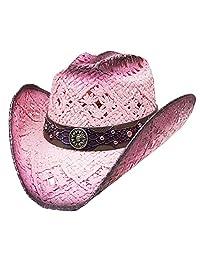 Modestone Straw Cowboy Hat Breezer Crocodile Skin Pattern Hatband Purple