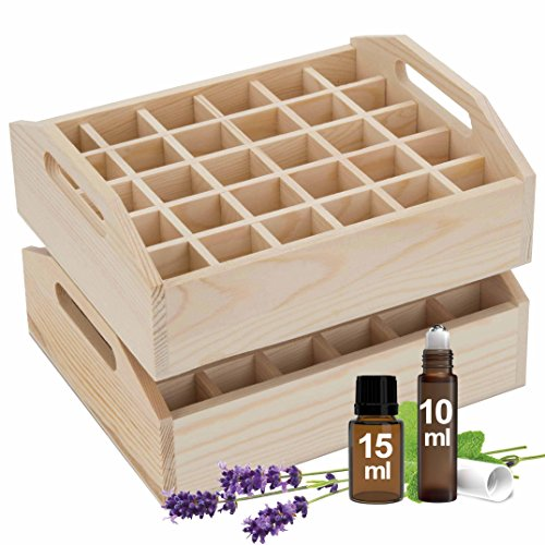Essential Oil Tray Organizer (Set of 2) - Best Solution for Display & Storage of Oils for Easy Access. Small Wooden Rack, Natural Pine Wood. Trays Hold 60 Oils