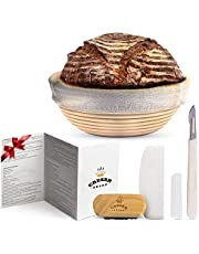 Banneton Bread Proofing Basket by Caesar Bread, 9 Inch Round Sourdough Brotform for Rising Dough Set, Include Cloth Liner, Scraper, Bread Lame, Brush & Recipe Book for Beginners & Professional Bakers