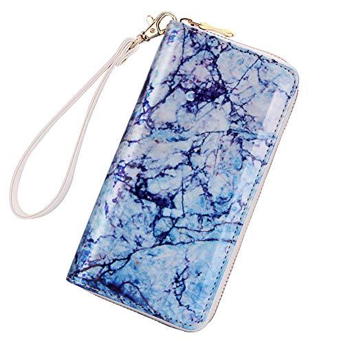 Kukoo Women Printed Zip Around Wallet PU Phone Clutch Travel Card Holder Purse (Marble Navy Blue)