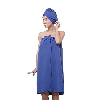 SIMJOY - Juego de toallas de baño de microfibra con cierre de velcro y capuchón de