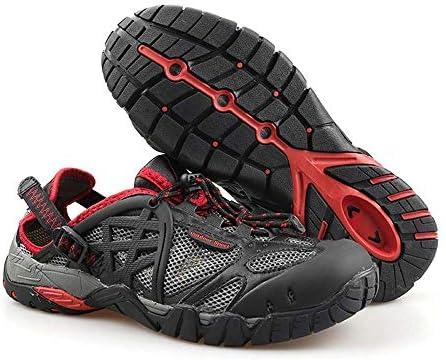 HYH 黒の夏の屋外メッシュ上流の靴ハイキングハイキングシューズ低通気性ゴム滑り止めワタリ靴水陸両用速乾性釣り靴の男性と女性に適用可能US 5-US 11 いい人生 (色 : Black, Size : US8)