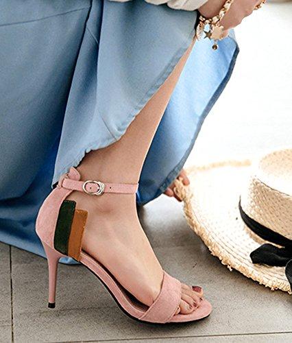 Aisun Cheville Bride Basse Sandales Femme Rose Rayures Parfait Multicolore rx1wrqX6