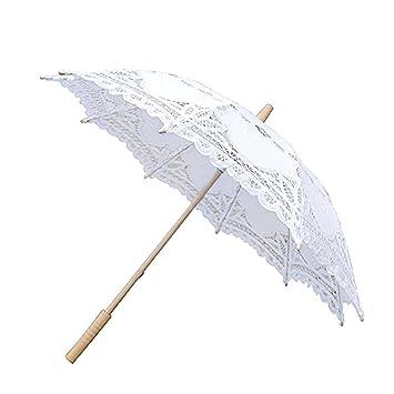 Househome - Paraguas de encaje hecho a mano Battenburg bordado encaje sombrilla paraguas para novia boda