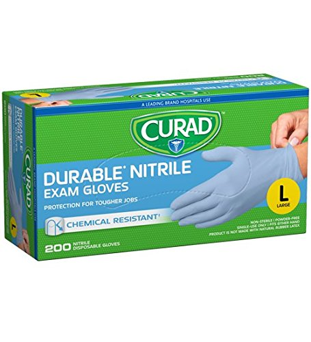 Curad Powder-Free Nitrile, Large, 200 gloves