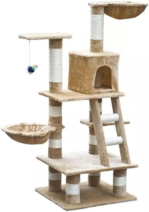 festnight- casita A árbol para gatos/rascador para gatos, 122 cm ...