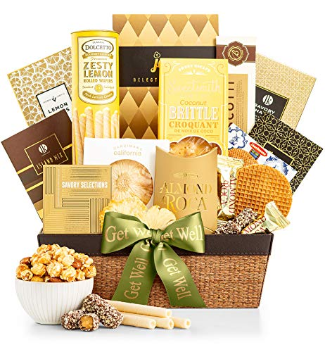 GiftTree Get Well As Good As Gold Gift Basket | Includes Almond Roca, Caramel Toffee Popcorn, Peanut Brittle & More | The Perfect Gift To Send Get Well Wishes