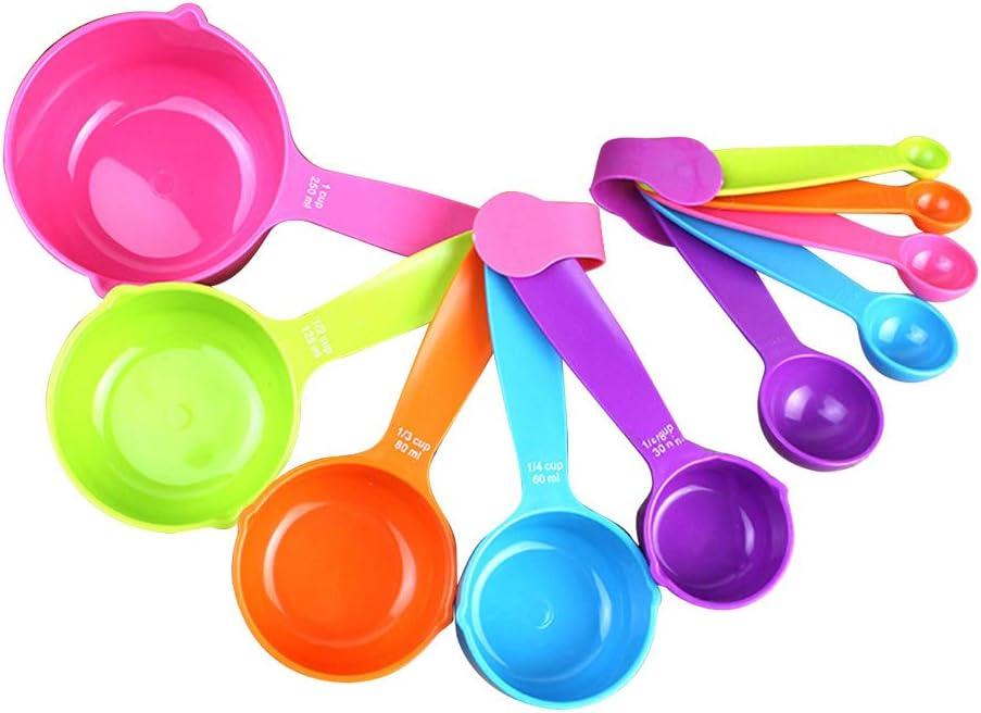 BESTONZON Tazas y cucharas de medir con mango de plástico, 10 piezas de tazas de medida Herramientas para líquidos, polvo de especias, ingredientes secos y alimentación de animales