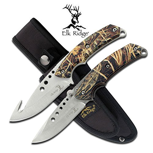 Camouflage Handle Stainless Steel Gut Hook Hunting Knife And Lock Back Folding Knife Set With Balastic Nylon (Camo Stainless Handle)