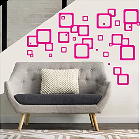 Hot Pink Retro Mod Squares Wall Decals / Modern Geometric Wall Decor (Hot  Pink Squares