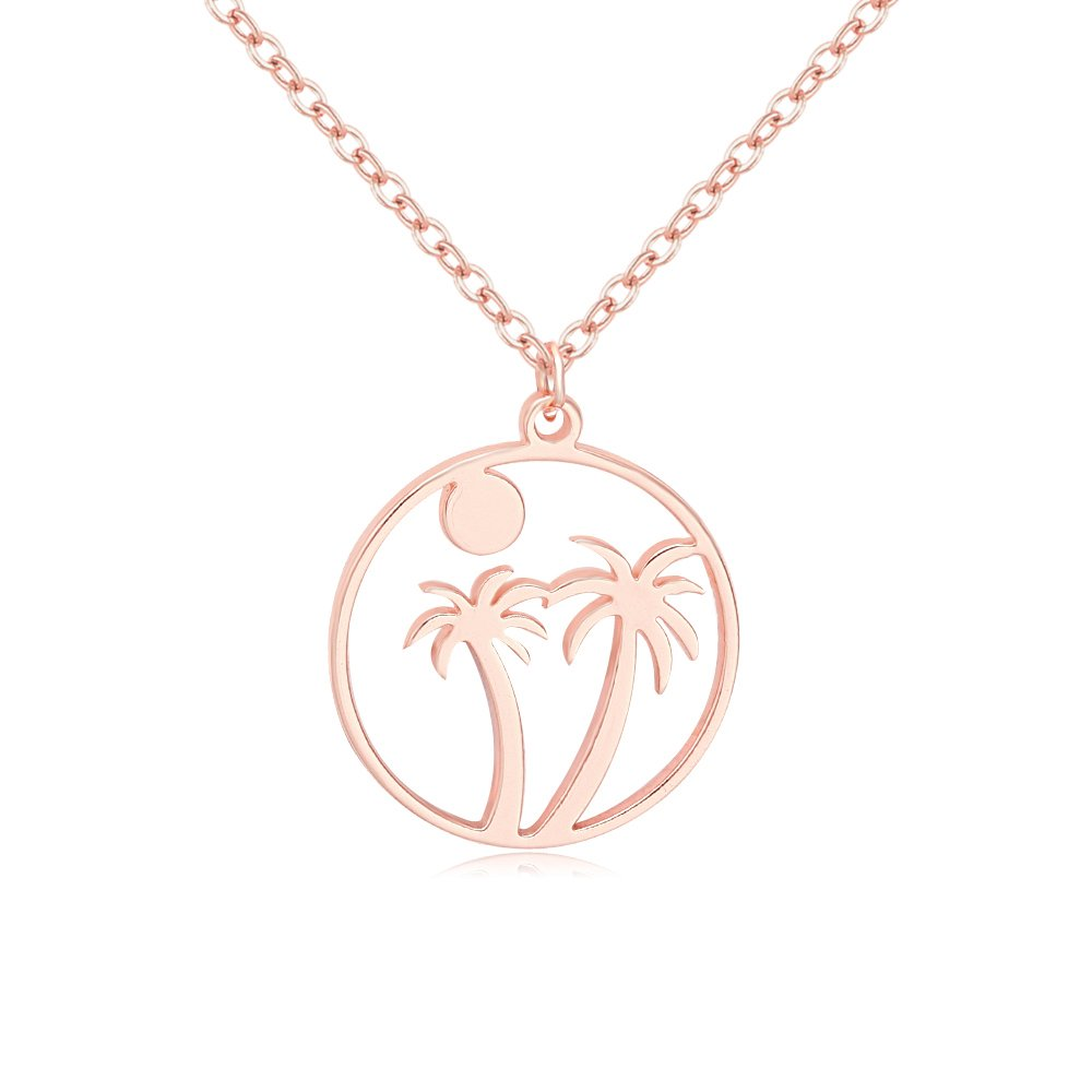 MANZHEN 3 Colors Beach Palm Tree Sunrise Summer Style Necklace (Rose Gold)