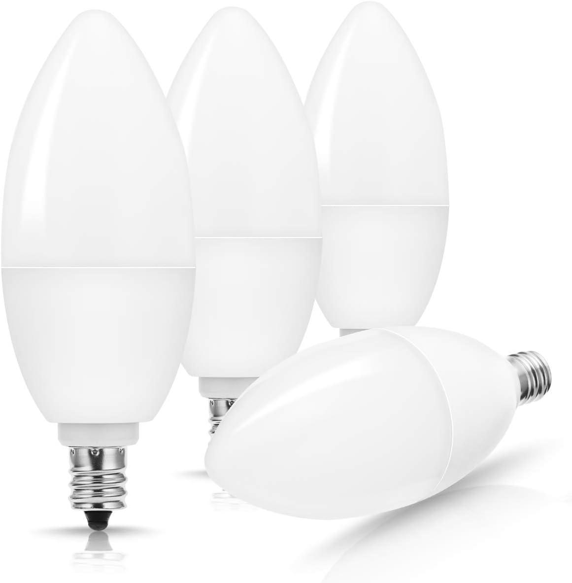 JandCase 4W Candelabra Dimmable Bulb, 35W Equivalent, 350LM Type B Bulb, Daylight White 5000K, Torpedo Bulb for Home Lighting, Chandelier, Bathroom, E12 Candelabra Base, 4 Pack