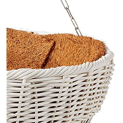 DMC Products 17-Inch Resin Wicker Hanging Basket with Chain Hanger, White: Garden & Outdoor