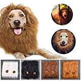 Qiao Niuniu Lion Mane Dog Costume Lion Wig Large Pet Festival Party Fancy Hair Dog Clothes Ears-Color Light Brown