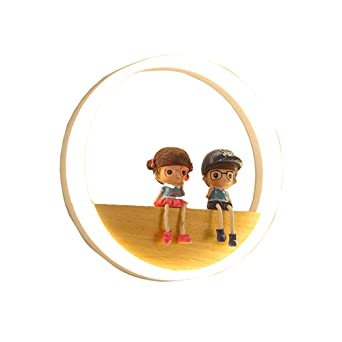 Kinder Ring Acryl Holz LED Wandleuchte 18W Jungen Und Mädchen Wandlampe Am  Bett Der Personalisierten