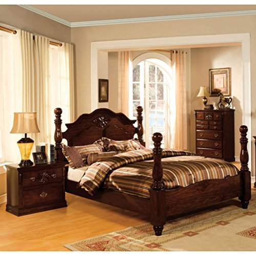 Furniture of America Weston Traditional Style Glossy Dark Pine Four Poster Bed Queen