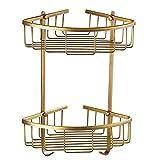 He Xiang Firm Shelf bathroom European antique bathroom corner racks bathroom racks triangular baskets all-copper tripod (Size : B#)