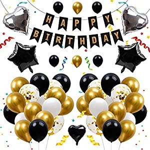 Best Epic Trends 51p0aUdvmaL._SS300_ Birchio Gold Black White Confetti Balloon Birthday Decorations Kit, Party Supplies with Balloons and Happy Birthday…
