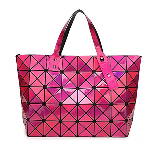 Kayers Sulliva Women's Fashion Geometric Lattice Tote Glossy PU Leather Shoulder Bag Top-handle Handbags (Shiny Plum) (Shiny Plum)