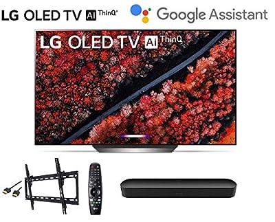 LG OLED77C9PUB 77 inch Class 4K Smart OLED TV w/AI ThinQ Bundle w/Sonos Beam Soundbar w/Flat Mount w/HDMI Cable - LG Authorized Dealer