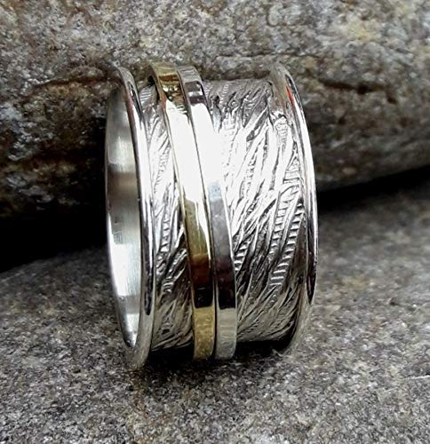 Spinner Band Rings 925 Sterling Silver Band Brass and Copper Spinner Ring for Women, Anxiety Ring for Meditaion Gift Ring for Mothers Day