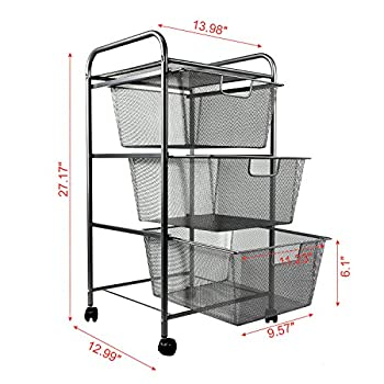 YIMU 3 Tier Metal Mesh Cart with 3 Drawers, Office& Kitchen Storage with Rolling Wheels, Silver