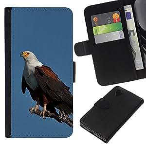 KingStore / Leather Etui en cuir / LG Nexus 5 D820 D821 / Plumes d'oiseaux noirs américains