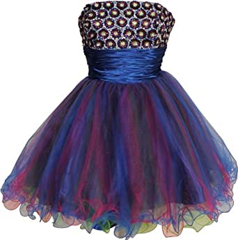 Beaded Sequin Mini Prom Party Homecoming Dress, Medium, Royal