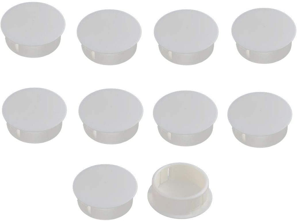 Antrader Door Window Round Shaped Plastic Push Mounting Locking Hole Plugs Button Covers for 25mm Dia Hole, Pack of 10, Off White