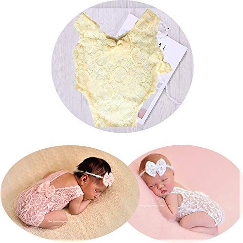 (Infant Cute Newborn Baby Girl Photography Lace Romper Props Vest Bodysuit Pictures Clothing Monthly Photo Shoot Outfits (D Baby Photography Vest)