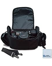 Large Digital Camera/Video Padded Carrying Bag/Case for Nikon, Sony, Pentax, Olympus Panasonic, Samsung, and Canon DSLR Cameras + eCostConnection Microfiber Cloth