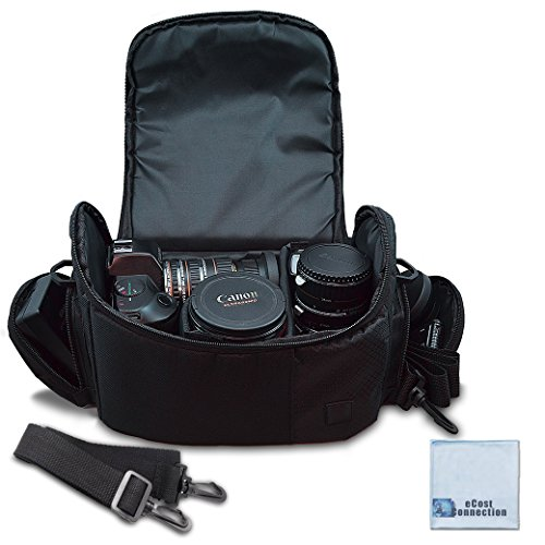Large Digital Camera / Video Padded Carrying Bag / Case for Nikon, Sony, Pentax, Olympus Panasonic, Samsung, and Canon DSLR Cameras + eCostConnection Microfiber Cloth ()