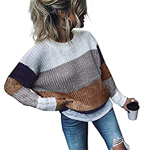 cordat Womens Casual Color Block Oversized Lightweight Sweater Long Sleeve Pullover Tops