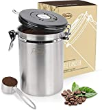 Primica Stainless Steel Coffee Canister - Premium Coffee Container Airtight Storage with Scoop for Easy Portioning