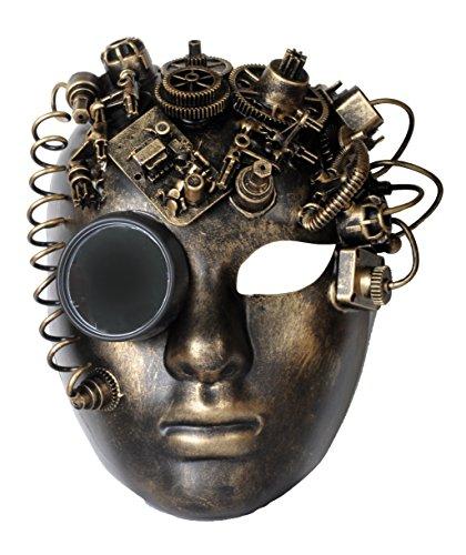 Arsimus Steampunk Victorian BlackSmith Bauta Full Face Masquerade Mask Rave (Gold) (Victorian Face Masks)