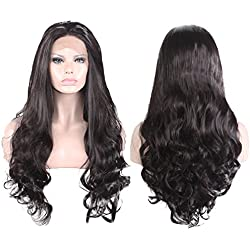 MostaShow 120% Density Long Wavy Lace Front Wigs for Women Natural Black Synthetic Hair Extensions 27.6''