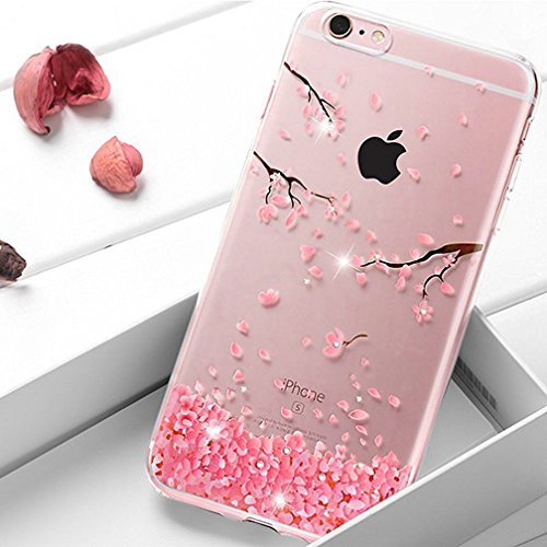ed6b44f0eaf EMAXELERS iPhone 7 Plus Clear Transparent Crystal Cute Cherry Blossoms  Pattern Case Bumper Silicone Back Case Cover For iPhone 7 Plus 5.5  Inch,Cherry ...