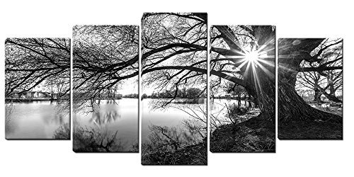 (5 Panels Framed Canvas Wall Art, Black and White Tree in Sunrise, Lake Landscape Art Painting on Canvas, Ready to Hang for Living Room Bedroom Office (25X40cmX2,25X50cmX2,25X60cmX1))