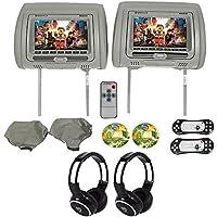 """Rockville RVD721-GR 7"""" Gray Dual DVD/USB/HDMI Car HeadrestMonitors+Headphones"""